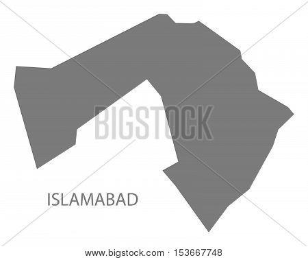 Islamabad Pakistan Map grey vector high res