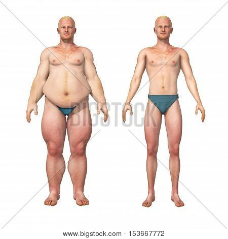 3D illustration of a transformation of a fat overweight man and his thin fit counterpart.