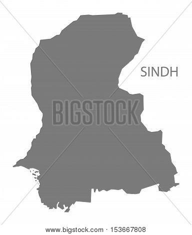 Sindh Pakistan Map grey vector high res