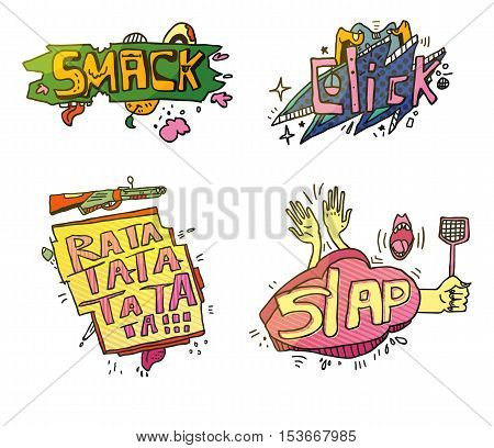 Set of comix cartoon exclamations. Smack for crushing or smashing fruit with foot, cloud click for fingers on mouse, weapon rifle or machine gun rata ta for shooting, slap for clap hands or swatter