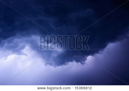Dark stormy clouds with small lightning.