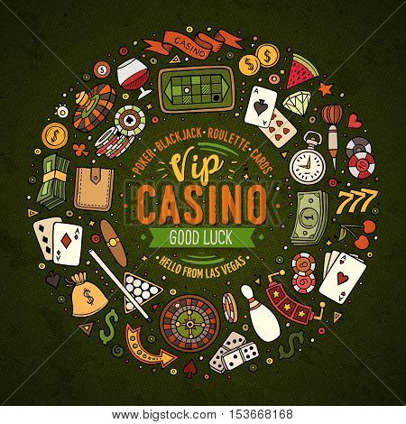 Colorful vector hand drawn set of Casino cartoon doodle objects, symbols and items. Round frame composition