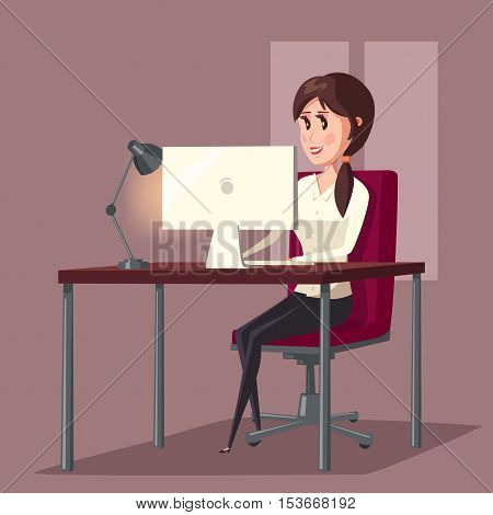 Female or woman at computer in room or home. Girl sitting on chair and working or web surfing in front of LCD display.
