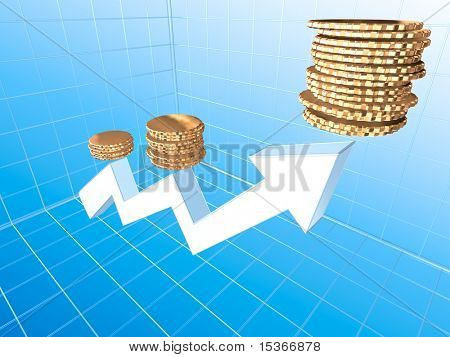Growing income graph. Perspective view. 3d render image.