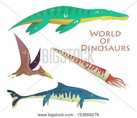 Flying and swimming dinosaurs and prehistoric reptile or lizard. Plesiosaurs or liopleurodon, pterodactyloidea or lophochroa, baculite or squid, nothosaurus. For jurassic dino and prehistoric theme