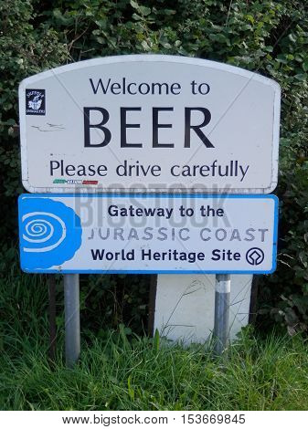 Welcome to Beer village sign Devon England