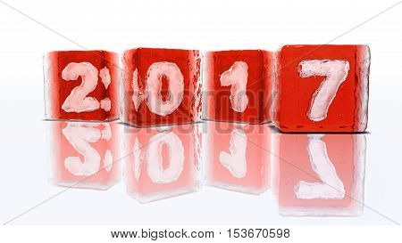 Four blocks of rough red ice on white background with frozen-in bubbles in the form of numbers 2 0 1 and 7