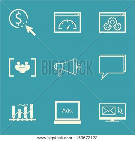Set Of Marketing Icons On Loading Speed, Website Performance And Keyword Optimisation Topics. Editab