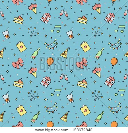 Happy birthday party multicolored outline vector seamless pattern. Clean and simple design.