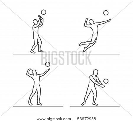 Line silhouettes of volleyball. Vector set of linear volleyball players figures.