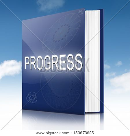 Illustration depicting a text book with a progress concept title. White background.