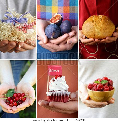 collage, set different pastries, fruit and products holds in hands