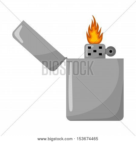 Silver Gasoline Lighter With Burning Flame