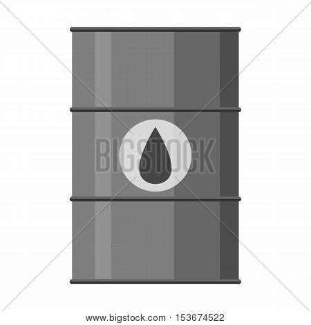 Vector Illustration Of Black Metal Oil Barrel