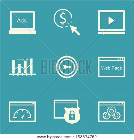Set Of Advertising Icons On Website Performance, Security And Ppc Topics. Editable Vector Illustrati