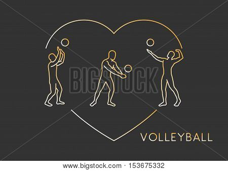 Gold line vector logo for volleyball. Outline figure volleyball player.
