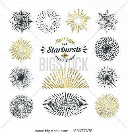 Hand Drawn Rays And Starburst Design Elements