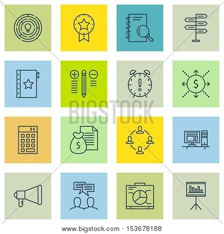Set Of Project Management Icons On Discussion, Presentation And Present Badge Topics. Editable Vecto