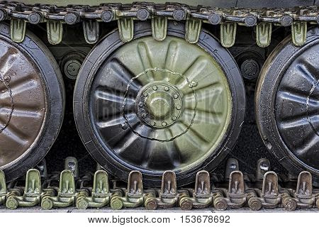 Armored Military Tank Detail in Army Colors