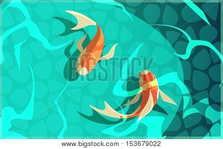 Koi carp japanese  symbol of luck fortune prosperity retro cartoon fishes in water poster vector illustration