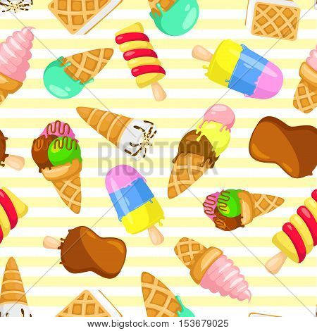 Colorful pastel pattern of ice cream on a striped background. seamless pattern with ice cream. Funny cartoon style. Vector illustration