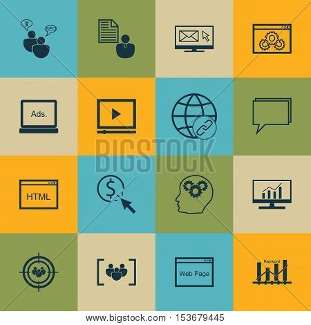 Set Of Marketing Icons On Ppc, Website Performance And Digital Media Topics. Editable Vector Illustr