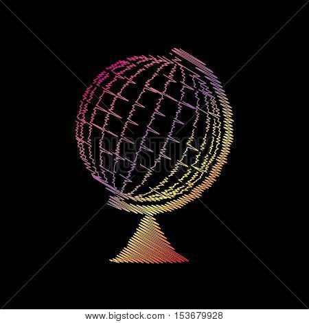 Earth Globe Sign. Coloful Chalk Effect On Black Backgound.