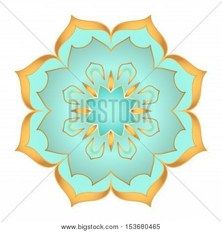 Mandala flower in beautiful gold and turquoise colors on white background
