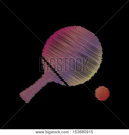 Ping Pong Paddle With Ball. Coloful Chalk Effect On Black Backgound.