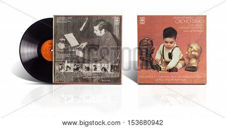 Rishon LeZion Israel-August 4 2016: Old used vinyl album Clasicamente Joven Cacho Tirao: Guitarra Arreglos y Direccion orquestal: Oscar Cardozo Ocampo. The LP was printed in Argentina by CBS Fonografico Discos CBS SAICF in 1976.