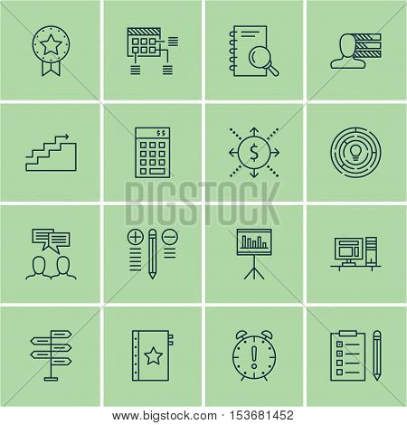 Set Of Project Management Icons On Time Management, Warranty And Opportunity Topics. Editable Vector