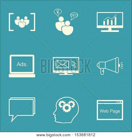 Set Of Seo Icons On Digital Media, Questionnaire And Seo Brainstorm Topics. Editable Vector Illustra