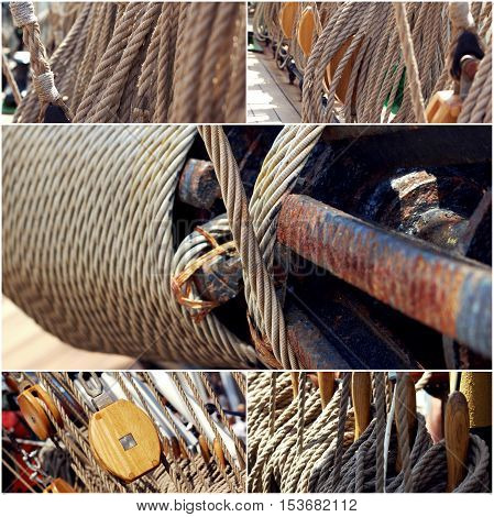 Ropes of sailing boat and rotating machine collage of photos.