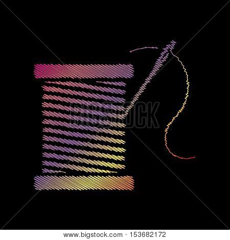 Thread with needle sign illustration. Coloful chalk effect on black backgound.