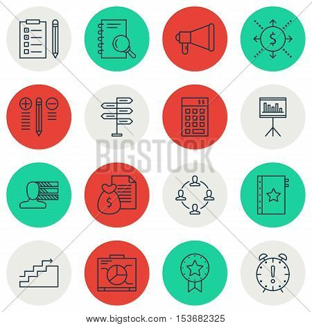 Set Of Project Management Icons On Analysis, Investment And Announcement Topics. Editable Vector Ill