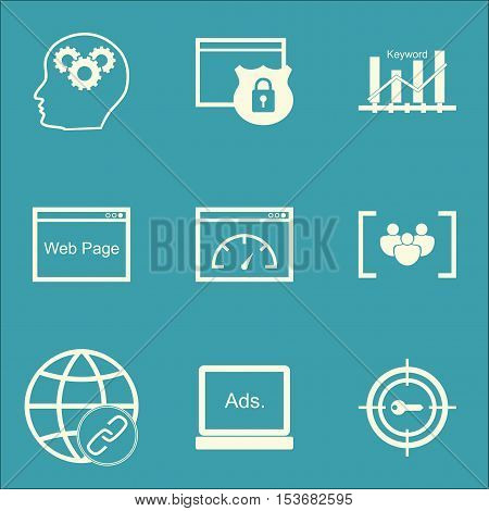 Set Of Advertising Icons On Brain Process, Loading Speed And Security Topics. Editable Vector Illust
