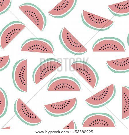 Fruit seamless pattern. Watermelon slices on white background vector illustration.