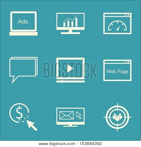Set Of Marketing Icons On Video Player, Newsletter And Ppc Topics. Editable Vector Illustration. Inc