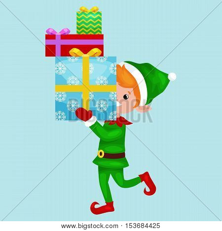 Christmas elf isolated stack of gifts in box in a green suit with, assistant of Santa Claus, boy helper holding gifts for happy new year vector illustration