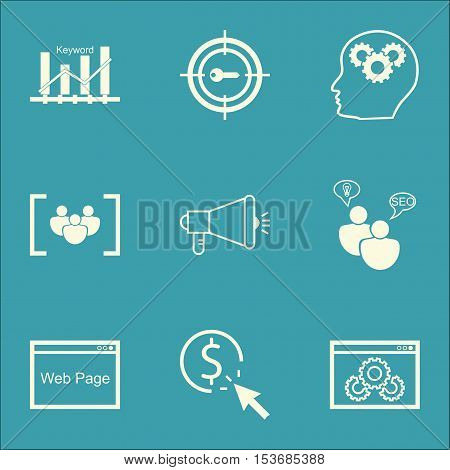 Set Of Marketing Icons On Ppc, Brain Process And Website Topics. Editable Vector Illustration. Inclu