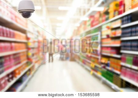 CCTV camera monitoring on the Abstract blurred photo of store in department store bokeh background, security concept