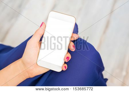 Smartphone mockup with white screen on it