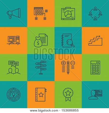 Set Of Project Management Icons On Discussion, Present Badge And Innovation Topics. Editable Vector