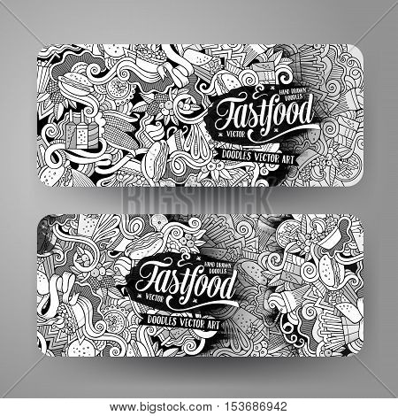 Vector hand drawn doodles food banners design templates set