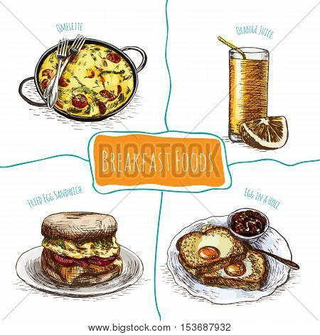 Colorful illustration of breakfast foods. Vector colorful illustration of breakfast