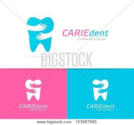 Vector tooth and hands logo combination. Dental clinic and embrace symbol or icon. Unique dent and medical logotype design template.