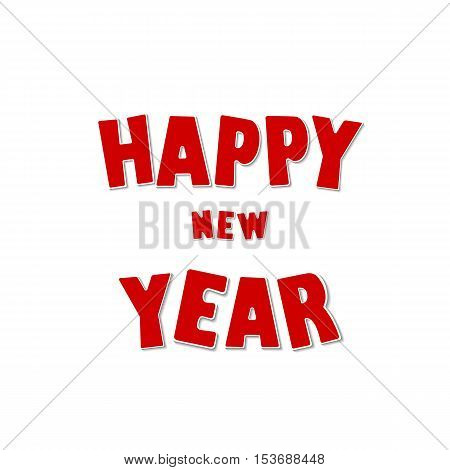 Happy New Year greeting card, red text. Vector illustration.