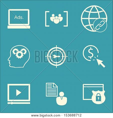 Set Of Marketing Icons On Video Player, Report And Questionnaire Topics. Editable Vector Illustratio
