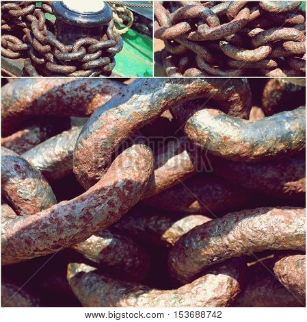 Old rusty pier chain link closeup collage of photos