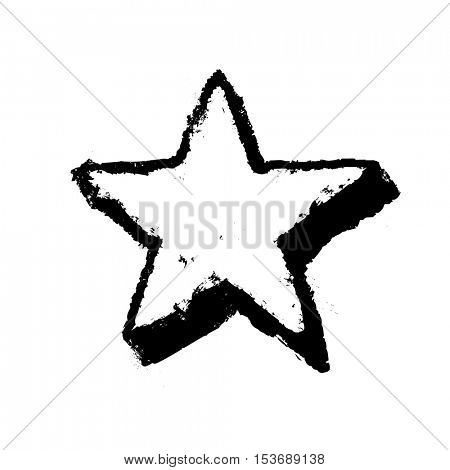 Five-pointed star grunge icon. Star vector illustration. Geometric grunge symbol. Grunge design element isolated on white